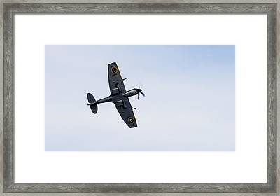 Framed Print featuring the photograph Spitfire From Below Sunderland Air Show 2014 by Scott Lyons
