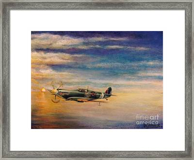 Spitfire In Flight Framed Print by Liam O Conaire