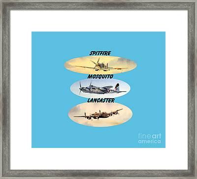 Spitfire Mosquito Lancaster Aircraft With Name Banners Framed Print by Bill Holkham