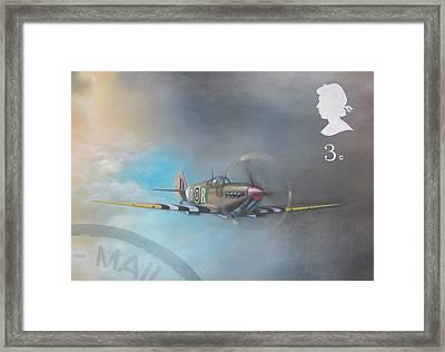 Spitfire Postage Stamp Framed Print by Riek  Jonker
