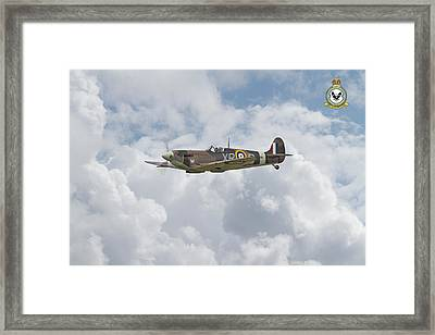 Framed Print featuring the digital art  Spitfire - Us Eagle Squadron by Pat Speirs