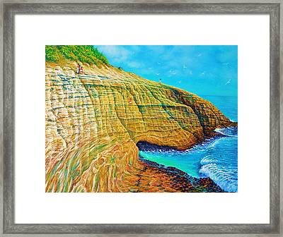Spitting Caves Of Portlock Point Framed Print