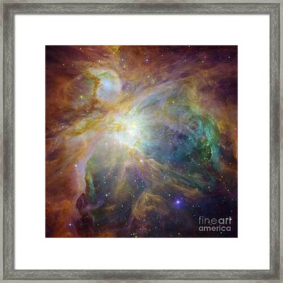 Spitzer And Hubble Create Colorful Masterpiece Framed Print