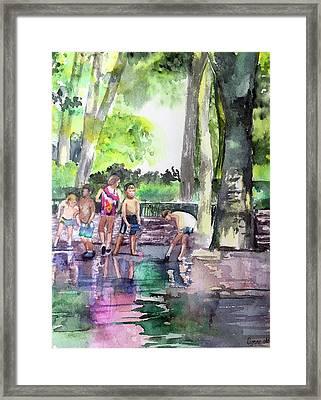 Splash In Battery Park Framed Print