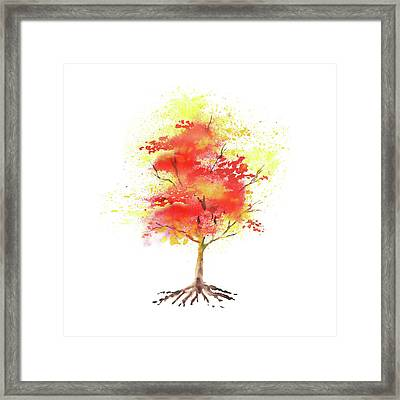 Framed Print featuring the painting Splash Of Autumn Watercolor Tree by Irina Sztukowski