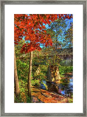 Splash Of Color Concord Covered Bridge Art Framed Print by Reid Callaway