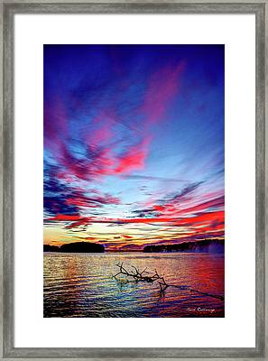 Splash Of Color Sugar Creek Sunrise Lake Oconee Georgia Framed Print by Reid Callaway