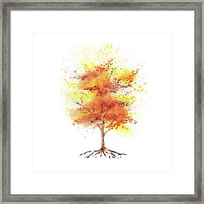 Framed Print featuring the painting Splash Of Fall Watercolor Tree by Irina Sztukowski