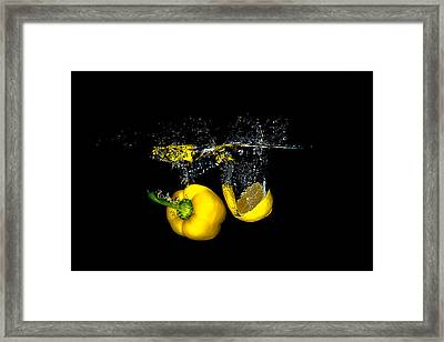 Splash Of  Pepper And Lemon Framed Print