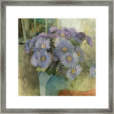 Splash Of Purple Flowers Framed Print by Theresa Campbell