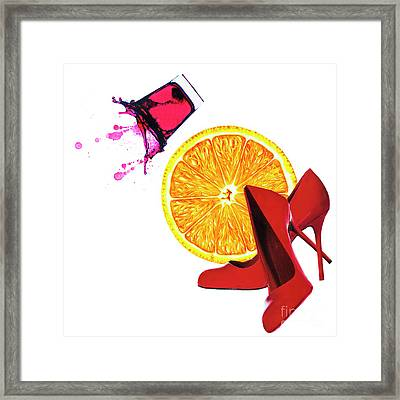 Splash Of Red Framed Print by Elena Nosyreva