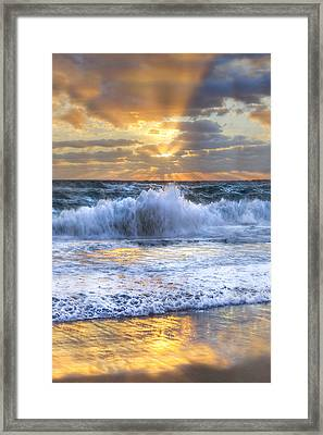 Splash Sunrise II Framed Print by Debra and Dave Vanderlaan