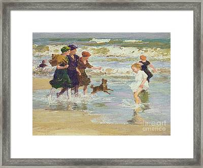 Splashing Framed Print by Edward Henry Potthast