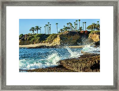 Splashing Waves And Nice Beach Framed Print by Kelley King