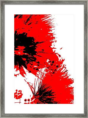 Splatter Black White And Red Series Framed Print