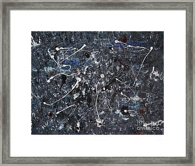 Splattered - Grey Framed Print by Jacqueline Athmann