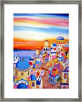 Splendid Santorini Sunset My Way Framed Print