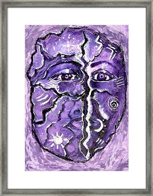 Framed Print featuring the painting Split A Mask by Shelley Bain