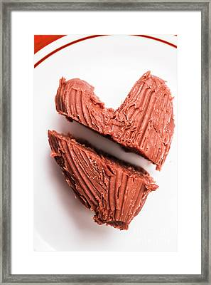 Split Hearts Chocolate Fudge On White Plate Framed Print by Jorgo Photography - Wall Art Gallery