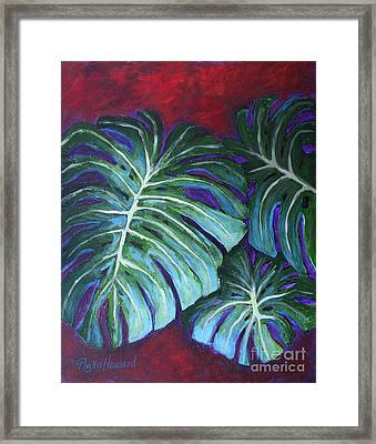 Framed Print featuring the painting Split Leaf Philodendron by Phyllis Howard