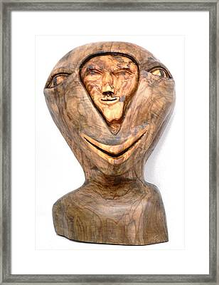 Framed Print featuring the sculpture Split Personality. Olive Wood Sculpture by Eric Kempson