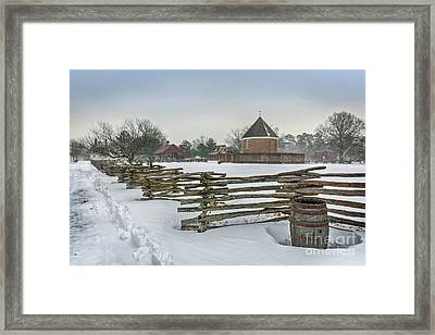 Split Rail Fence In Front Of Colonial Williamsburg Magazine Framed Print