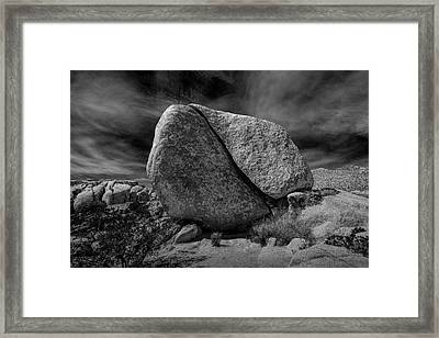 Framed Print featuring the photograph Split Rock In Black And White At Joshua Tree National Park by Randall Nyhof