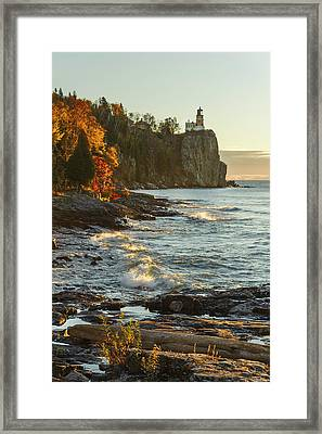 Split Rock Lighthouse At Sunrose Framed Print