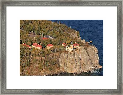 Split Rock Lighthouse Fall Aerial View Framed Print by Tammy Wolfe