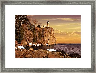 Framed Print featuring the photograph Split Rock Lighthouse by Susan Rissi Tregoning