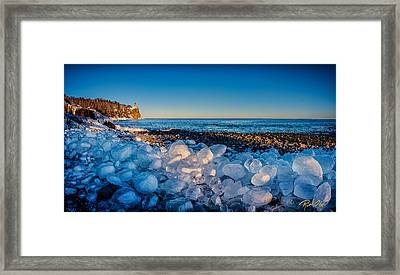 Split Rock Lighthouse With Ice Balls Framed Print