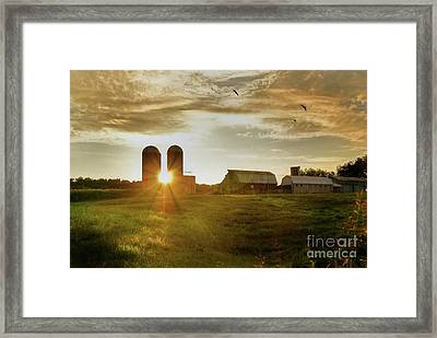 Split Silo Sunset Framed Print
