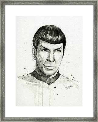 Spock Watercolor Portrait Framed Print by Olga Shvartsur
