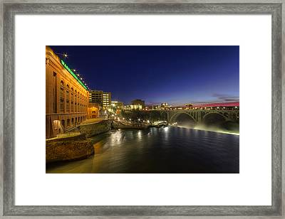 Spokane Falls At Night Framed Print by Mark Kiver