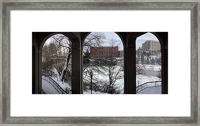 Spokane Falls Winter Triptych Framed Print