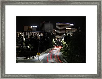 Spokane Night Skyline Framed Print