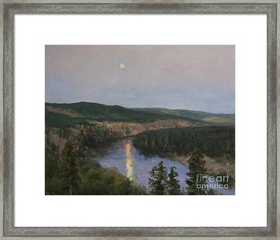 Spokane River At Dusk Framed Print