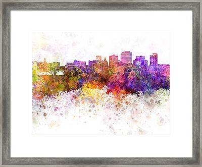 Spokane Skyline In Watercolor Background Framed Print