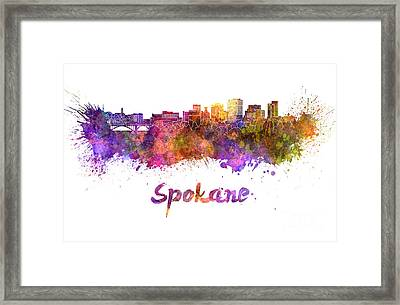 Spokane Skyline In Watercolor Framed Print