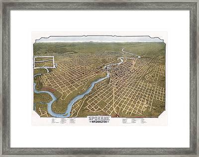 Spokane Washington Pictorial Map  1905 Framed Print