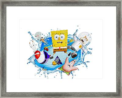 Sponge Out Of Water Drawing Framed Print