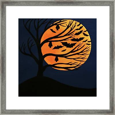 Spooky Bat Tree Framed Print
