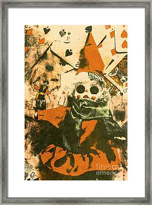 Spooky Carnival Clown Doll Framed Print