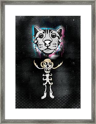 Spooky Cat Hologram Framed Print