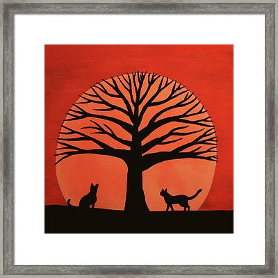 Spooky Cat Tree Framed Print