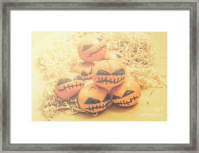 Spooky Halloween Oranges Framed Print