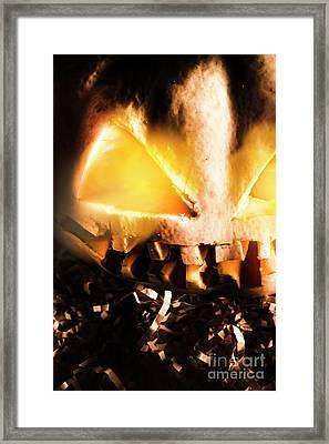 Spooky Jack-o-lantern In Darkness Framed Print