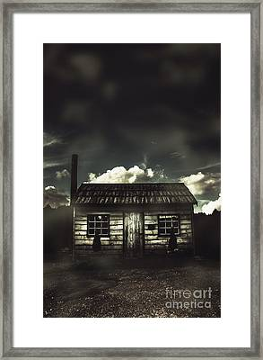 Spooky Old Abandoned House In Dark Forest Framed Print