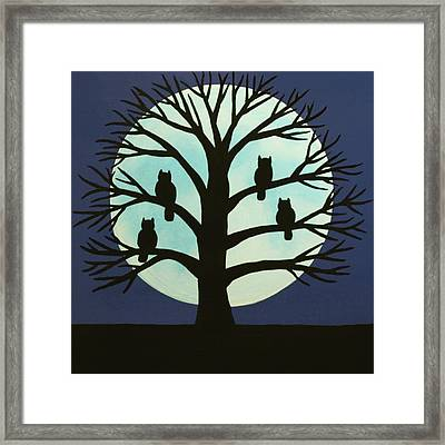 Spooky Owl Tree Framed Print