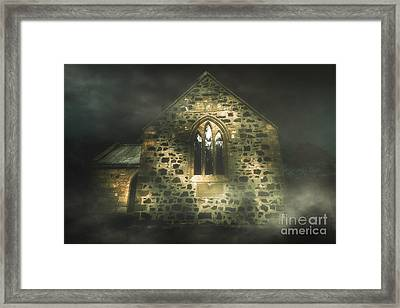 Spooky Stone Church In A Haunted Winters Night Framed Print